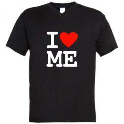 Мужская футболка  с V-образным вырезом I love ME - FatLine