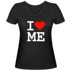 Женская футболка с V-образным вырезом I love ME - FatLine