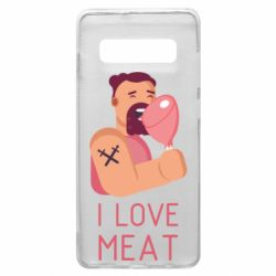 Чехол для Samsung S10+ I Love meat