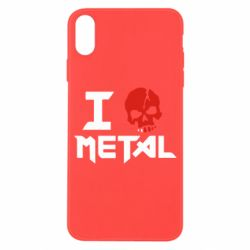 Чехол для iPhone X I love metal - FatLine