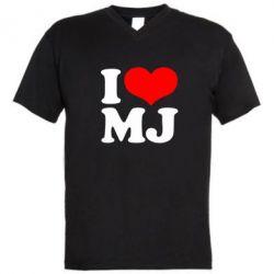 Мужская футболка  с V-образным вырезом I love MJ