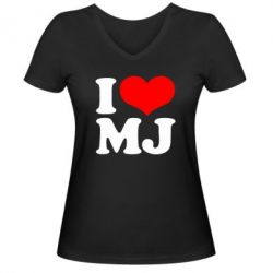 Женская футболка с V-образным вырезом I love MJ