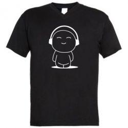 Мужская футболка  с V-образным вырезом I love music