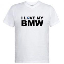 Мужская футболка  с V-образным вырезом I love my BMW - FatLine