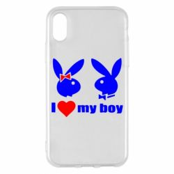 Чехол для iPhone X I love my boy - FatLine