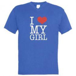 Мужская футболка  с V-образным вырезом I love my girl - FatLine