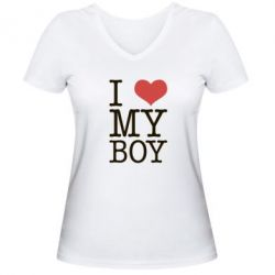 Женская футболка с V-образным вырезом I love my