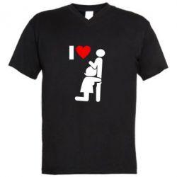 Мужская футболка  с V-образным вырезом I love oral - FatLine