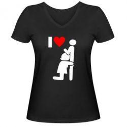 Женская футболка с V-образным вырезом I love oral - FatLine