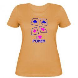 Женская футболка I love poker