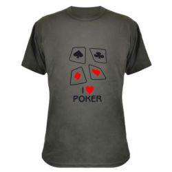 Камуфляжная футболка I love poker - FatLine