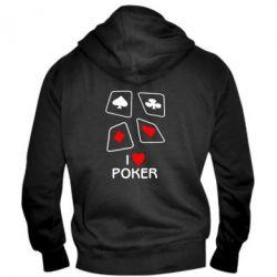 Мужская толстовка на молнии I love poker - FatLine