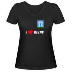 Женская футболка с V-образным вырезом I love Rivne - FatLine