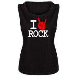 Женская майка I love rock - FatLine