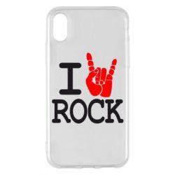Чехол для iPhone X I love rock - FatLine
