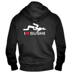 Мужская толстовка на молнии I love sushi - FatLine