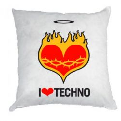 Подушка I love Techno logo - FatLine