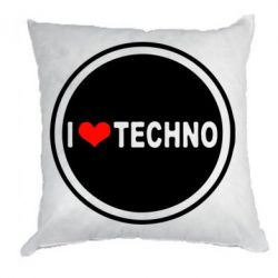 Подушка I love techno music - FatLine