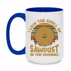 Кружка двухцветная 420ml I Love the smell of sawdust in the morning