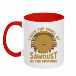 Кружка двухцветная 320ml I Love the smell of sawdust in the morning