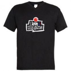 Мужская футболка  с V-образным вырезом I love this Game - FatLine
