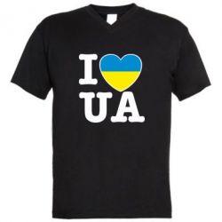 Мужская футболка  с V-образным вырезом I love UA - FatLine
