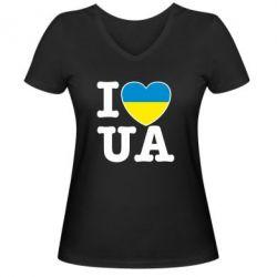 Женская футболка с V-образным вырезом I love UA - FatLine