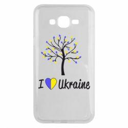 Чехол для Samsung J7 2015 I love Ukraine дерево