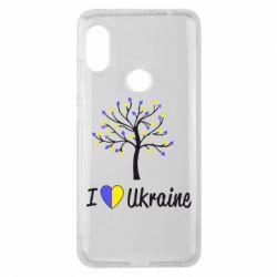 Чехол для Xiaomi Redmi Note 6 Pro I love Ukraine дерево