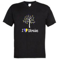 Мужская футболка  с V-образным вырезом I love Ukraine дерево