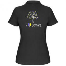 Женская футболка поло I love Ukraine дерево - FatLine