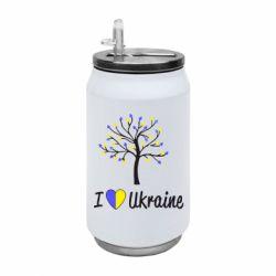 Термобанка 350ml I love Ukraine дерево