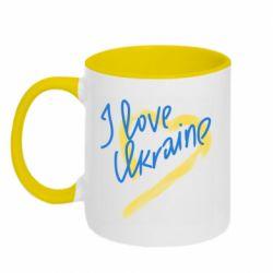 Кружка двухцветная 320ml I love Ukraine paint stroke