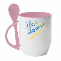 Кружка с керамической ложкой I love Ukraine paint stroke