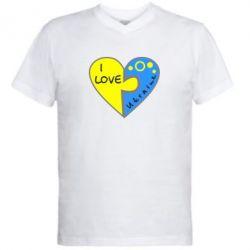 Мужская футболка  с V-образным вырезом I love Ukraine пазлы