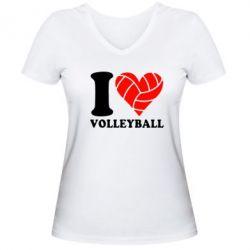 Женская футболка с V-образным вырезом I love volleyball - FatLine
