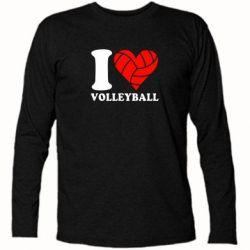 Футболка с длинным рукавом I love volleyball - FatLine