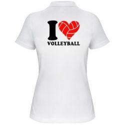 Женская футболка поло I love volleyball - FatLine