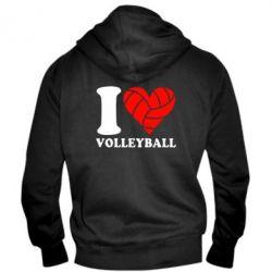 Мужская толстовка на молнии I love volleyball - FatLine