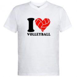 Мужская футболка  с V-образным вырезом I love volleyball - FatLine