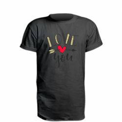 Подовжена футболка I love you and heart
