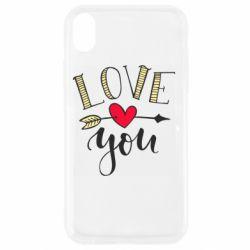 Чохол для iPhone XR I love you and heart