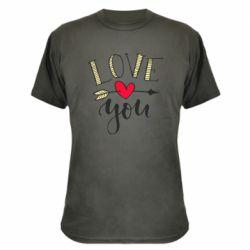Камуфляжна футболка I love you and heart