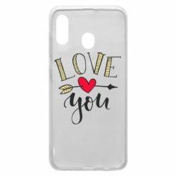Чохол для Samsung A20 I love you and heart