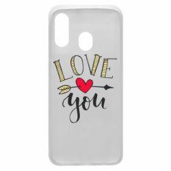 Чохол для Samsung A40 I love you and heart