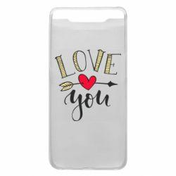 Чохол для Samsung A80 I love you and heart