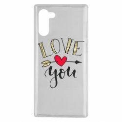 Чохол для Samsung Note 10 I love you and heart
