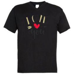 Чоловіча футболка з V-подібним вирізом I love you and heart