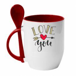 Кружка з керамічною ложкою I love you and heart