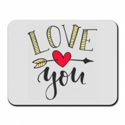 Килимок для миші I love you and heart